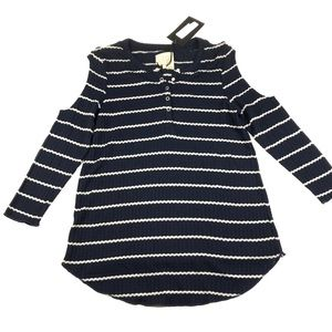 Chaser Striped Navy Long Sleeved Henley Top Shirt